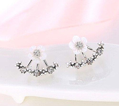 Ring Rhinestone Fashion Flower (Korean Style Cute Gold/Silver Crystal Flower Ear Piercing Stud Earrings Women Rhinestone Earings Fashion Jewelry (Silver))