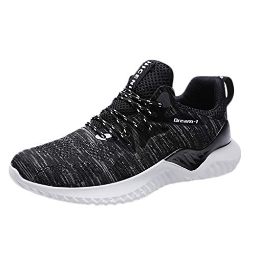 Men Breathable Running Shoes HOSOME Mens Fashion Sport Flat Athletic Sneakers Round Toe Shoes Black
