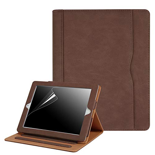 HDE Case for iPad 2 3 4 Leather Case with Screen Protector - Professional Folio Cover with Smart Magnetic Closure, Multiple Viewing Angles and Pocket for Apple iPad 2nd 3rd 4th Generation (Brown)