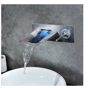 GOWE Soild Brass LED Light Waterfall Brushed Nickel Wall Mounted Bathtub Faucet Torneira Shower Bathroom Sink Faucet,Mixer Taps 0