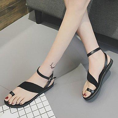 LvYuan Mujer Sandalias PU Primavera Verano Hebilla Tacón Plano Negro Gris Menos de 2'5 cms gray