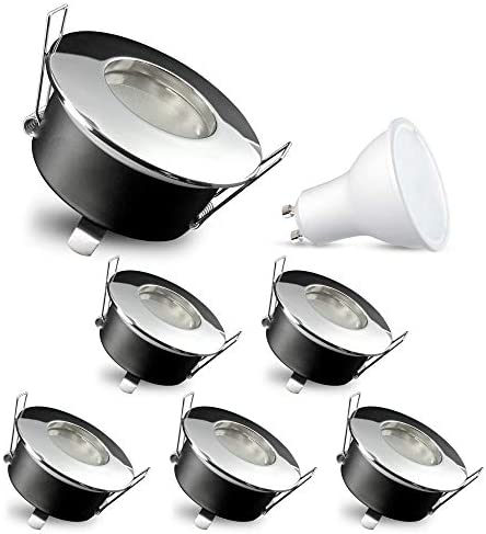 6 Stück SSC-LUXon RW-1 Einbauleuchte LED für Bad & aussen IP65 - mit LED GU10 5W warmweiß 230V - chrom glänzender Einbauspot