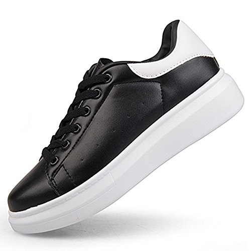 Spritech(TM) Men Women Unisex Fashion PU Leather Lace Up Lovers Casual Flat Sneaker Shoes Black an White 37