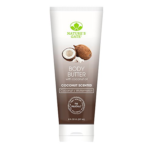 Nature's Gate Natural Body Butter, Coconut and Watermelon, Coconut Scented, Gently Hydrates and Moisturizes Skin; Vegan, Non GMO, Gluten Free, Paraben Free, and Cruelty Free, 8 Ounce Recyclable Tube