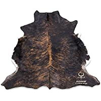 RODEO Real Cowhide Genius Leather Hair on leather rug By Decorative Value Size Approx 6X7 ft (Dark Brindle)