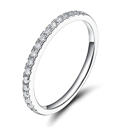 (Sz 7.0 Solid 10K White Gold Diamond 2MM Half Eternity Stackable Wedding Anniversary Band Ring)