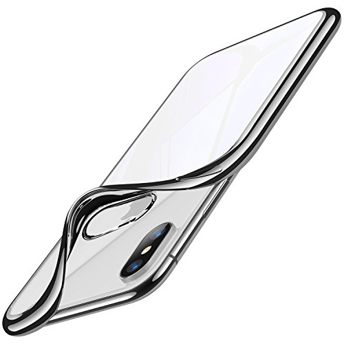 RANVOO iPhone Xs Case/iPhone X Case, Clear Crystal Ultra Thin Slim Fit Soft TPU Flexible Case with Chrome Bumper Rubber Cover [Support Wireless Charging] for iPhone Xs/iPhone X 5.8, Silver