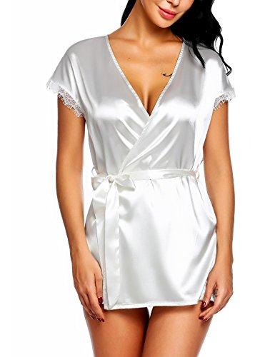Ivory G-string - Avidlove Women Wedding Robe Lingerie White Satin Lingerie Kimono
