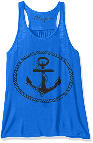 (Clementine Apparel Petite Plus Clementine Women Boat Anchor Printing Flowy Racerback Tank, True Royal, L)