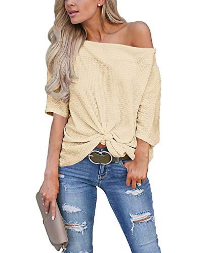 (Womens Knot Front Off The Shoulder Tops Waffle Knit Batwing Sleeve Loose Oversized Pullover Shirts Blouse Beige Small)
