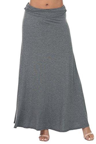 Nolabel B7_003 Womens Lightweight Flowy Floor Length Maxi Skirt With Fold Over Wide Waistband Charcoal - Lightweight Womens Skirt