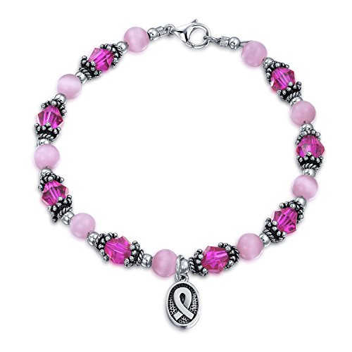Awareness Bracelet Ribbon Silver Sterling (Breast Cancer Awareness Pink Crystal Silver Ribbon Bracelet)