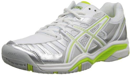 ASICS Women's Gel-Challenger 9 Tennis Shoe,Silver/Neon Lime/White,5 M US (Challenger Asics Gel)