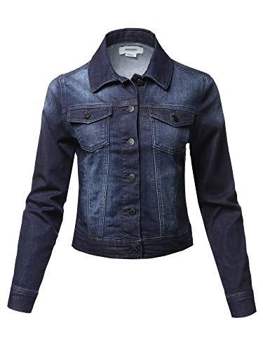 Awesome21 Basic Long Sleeves Soft Shell Stretch Denim Washed Jacket Dark Wash Size L