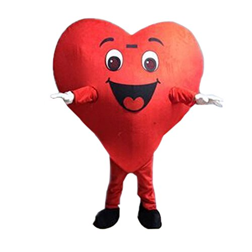 Red Heart Mascot Costume Cartoon Halloween Party Dress Adult Size -