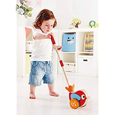 Hape Lilly Musical Push Along | Wooden Push Along Baby Walking Bird, Playful Kids Toy with Detachable Stick: Toys & Games