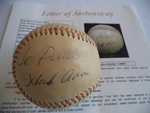 Hank Aaron Autographed Baseball - Personalized Vintage Loa X39475 - JSA Certified - Autographed Baseballs
