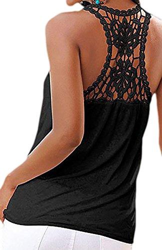 erdbeerloft - Damen Top mit Spitzenapplikation am Rücken, XS-L, Schwarz