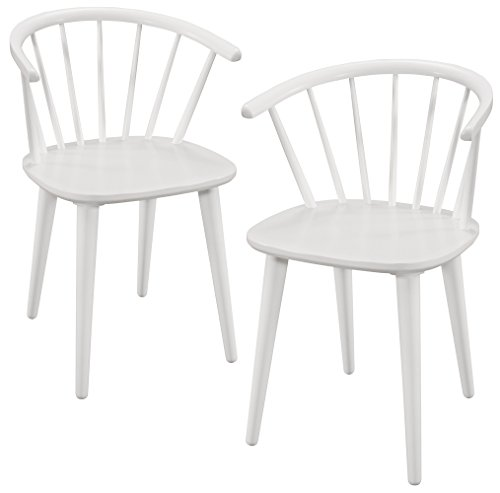 Gramercy Furniture Camden Dining Arm Chairs in White Finish, Set of 2 Windsor Dining Room Set