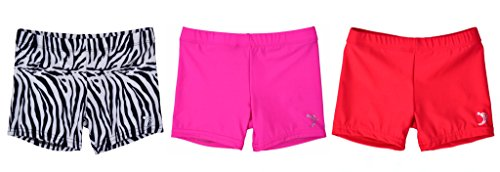 Sookie Active Premium Micro Nylon Spandex Youth Shorts - Multicolor 3-Pack (Youth 4-6) Set 2: Zebra, Hot Pink, Red