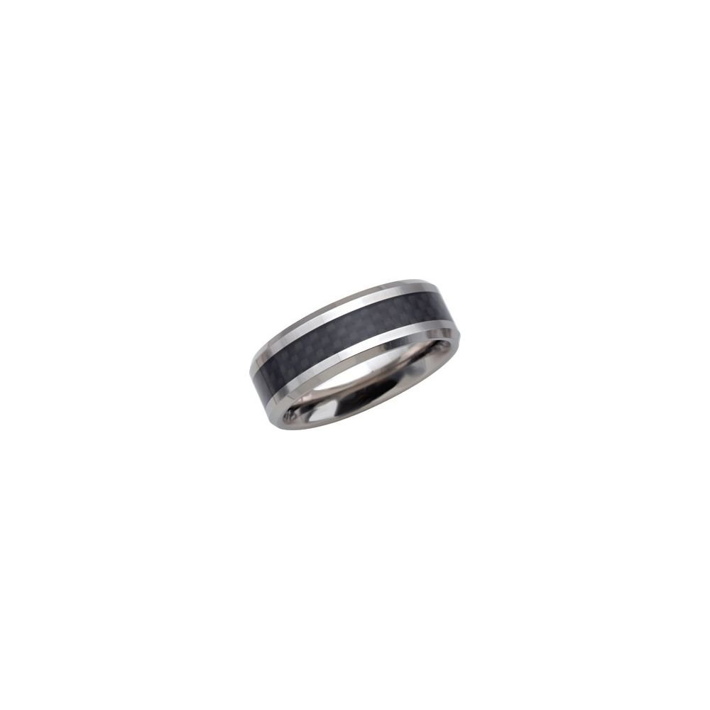 Security Jewelers Tungsten 8mm Beveled Band with Black Carbon Fiber Center Size 9 Ring Size 9