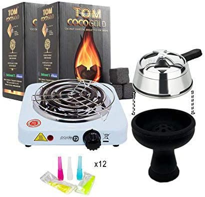 Pack completo: Hornillo con rejilla, 2kg de carbón natural Tom Cococha gold premium, regulador de temperatura para shisha, cazoleta premium de ...