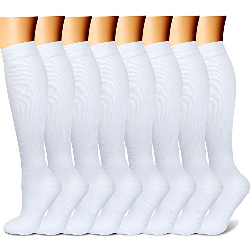 CHARMKING Compression Socks 15-20 mmHg is Best Graduated Athletic & Medical for Men & Women Running, Travel, Nurses, Pregnant - Boost Performance, Blood Circulation & Recovery (Small/Medium, White) ()