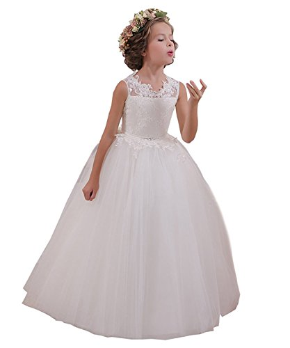 ABaowedding Ball Gown Lace up Flower First Communion Girl Dresses(US 12,Ivory -