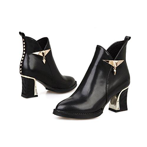tacco Toe stivaletti Nero Metal punta zip Womens scarpe Xianshu fino Block qTxOPnz