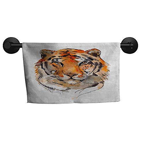 (alisoso Tiger,Yoga Towels Feline Animal with Calming Stare Hand Drawn Watercolor Art Exotic Wildcat Hunter Hotel Pool Towels W 14