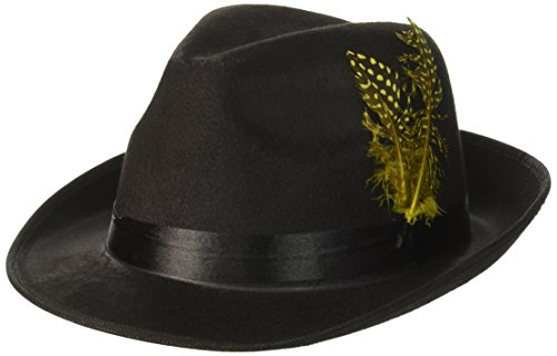 Forum Novelties 64376 Hip Hop Felt with Feather Hat, Black