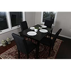 5 PC Black Linen 4 Person Table and Chairs Brown Dining Dinette - 150255 Black Parson Chair
