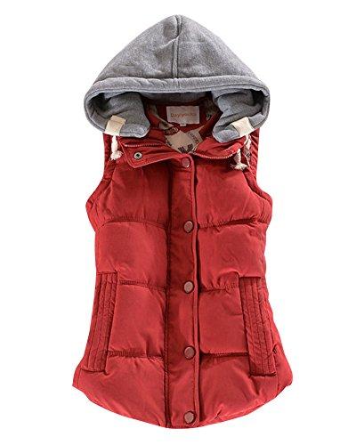 Mujer Gilet Espesar Cálido Invierno Abrigo Sin Mangas Acolchado Chaquetas Con Capucha Vino Rojo