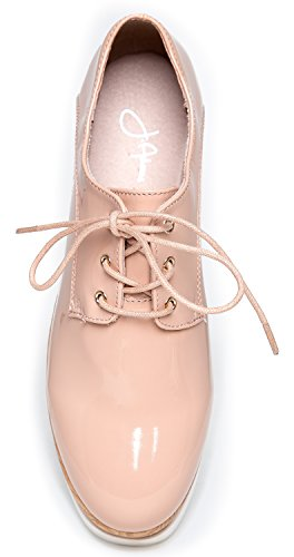 J. Adams Platform Lace Up Oxford Shoe - Classic Flatform Chunky Creeper Sneakers - Casual Round Toe Wood Platform - Elevate by Nude Pat F341s