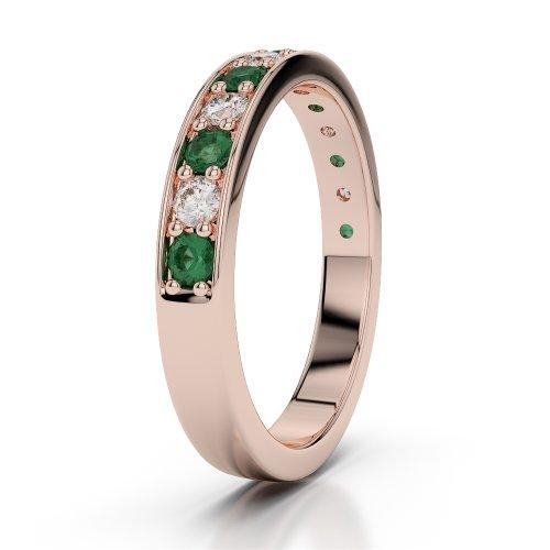 Or Rose 18carats 0,38CT G-H/VS Certifié Coupe ronde Émeraude et diamants Agdr-1084
