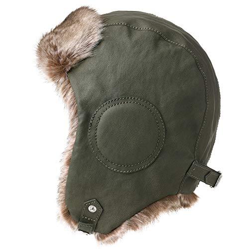 Mens Womens Waterproof Faux Fur Aviator Hunting Bomber Trapper Flaps Winter Cap Ushanka Russian Hat Army Green