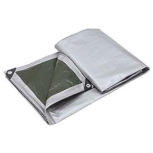 PENGFEI Lona Protección Alquitranada Doble Cara A Prueba De Agua Espesar Proteccion Solar Lluvia Cobertizo De Tela Coche Cubierta Anticorrosión, Gris + Verde, Espesor 0.35MM, 160 G/M², 9 Opciones De