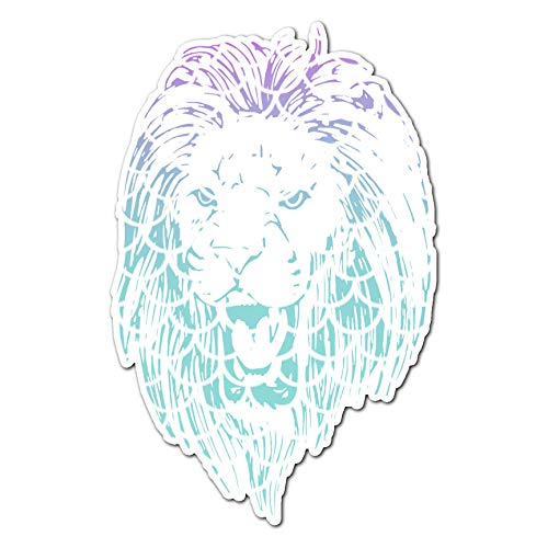 (Roaring Lion Head - Vinyl Decal Sticker - 11