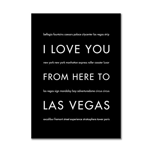 HopSkipJumpPaper Las Vegas Nevada Art Print, 5x7 Unframed Wall Art, Black