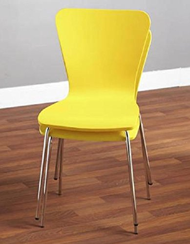 (Stacking Kitchen Chairs Sturdy Metal and Plastic No Arms Set of 2 Dining)