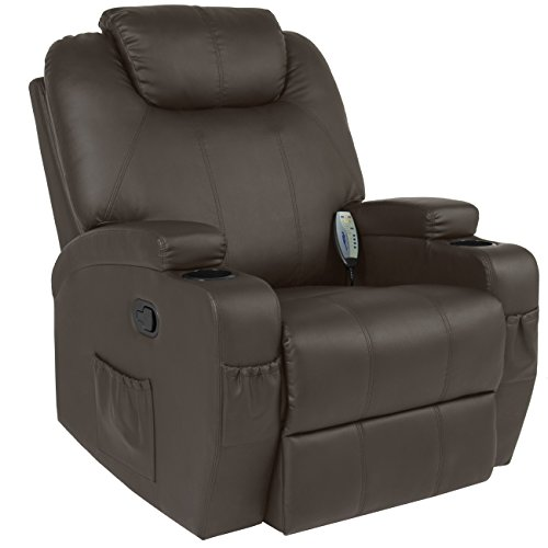 (Best Choice Products Executive PU Leather Swivel Electric Massage Recliner Chair w/ Remote Control, 5 Heat & Vibration Modes, 2 Cup Holders, 4 Pockets - Brown)