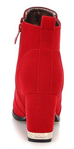 Rot Damen Aisun Kurzschaft Reißverschluss Chelsea Blockabsatz Stiefel Runde Zehen r8wdqTwxSP