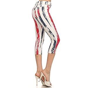 Stripe American Jegging Capri Leggings, Red White Blue, Large/XLarge 12-14