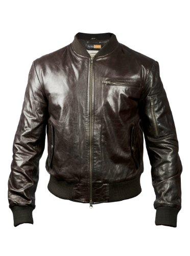 FE Mohair Men Dark Brown Real Bomber Goat Skin Leather Pilot Genuine Jacket - Stylish Pilot Coat