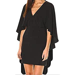 Funfash Plus Size Women Gothic Black Long Cape Sleeves V Neck Bodycon Mini Dress