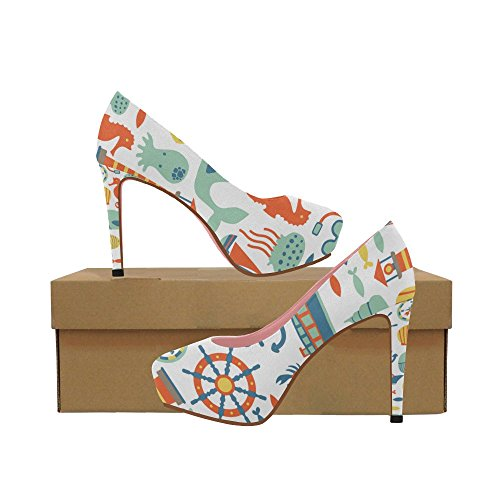 Aztec Shoes Womens Heel InterestPrint On Pumps Wedge Floral Colorful Color7 Rudder High Pattern Cartoon Anchor Prin dP1xxqwRXU
