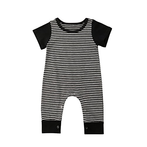 - Newborn Kids Baby Boys Cute Solid Color Long Sleeve Hooded Romper Jumpsuit Top Outfits Clothes (18-24 Months, Style 3-Stripe)