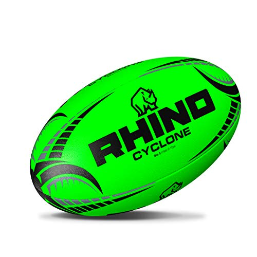 (RHINO RUGBY Cyclone Practice Ball | Fluorescent Green | Size 5)