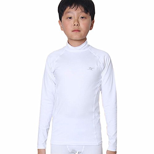 Thermal Underwear Kids Mock Turtleneck Shirts Compression Tops Base Layer NLK WH M