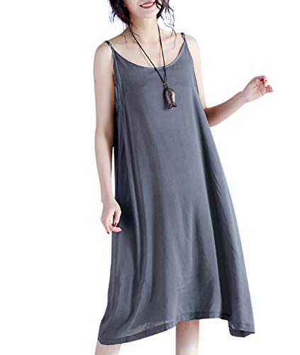 YESNO JEL Women Casual Loose Slip T-Shirt Dresses Beach Cover up Plain Dress A Skirt Hemline (L, JEL Grey)